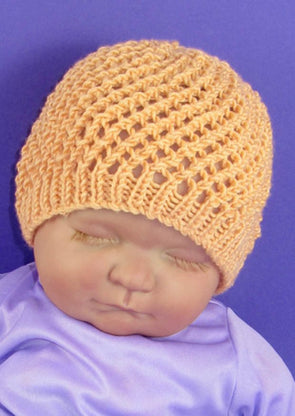 Baby Simple Lacey Skullcap Hat by MadMonkeyKnits (610) - Digital Version