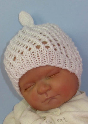 Baby Simple Lace Stitch Topknot Beanie by MadMonkeyKnits (813) - Digital Version