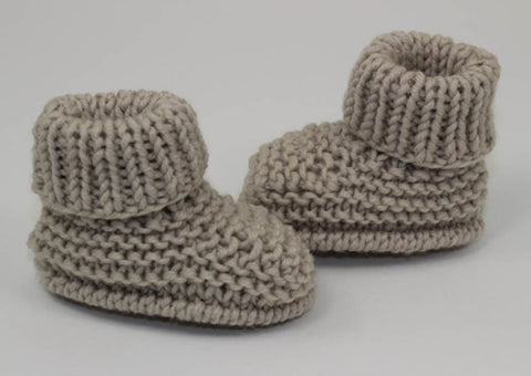 Baby Simple Rib Cuff Booties by MadMonkeyKnits (1059) - Digital Version