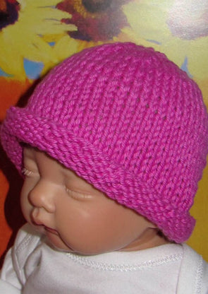 Baby Simple Roll Brim Beanie by MadMonkeyKnits (90) - Digital Version