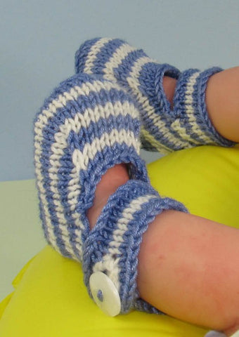 Baby Simple Stripe Ankle Strap Sandals by MadMonkeyKnits (631) - Digital Version