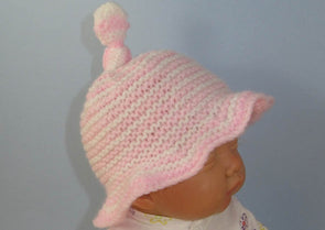 Baby Simple Stripe Topknot Sun Hat by MadMonkeyKnits (844) - Digital Version