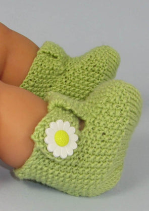 Baby T Bar Daisy Booties by MadMonkeyKnits (581) - Digital Version