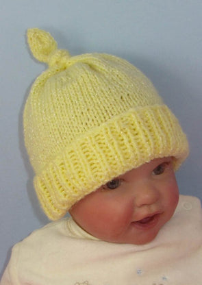 Baby Topknot Beanie Hat by MadMonkeyKnits (810) - Digital Version