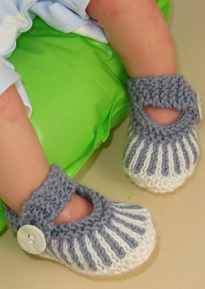 Baby Vertical Stripe Sandals by MadMonkeyKnits (634) - Digital Version