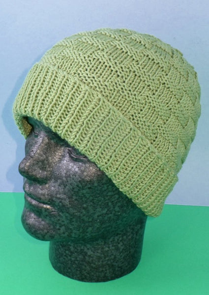 Basket Weave Spring Beanie Hat by MadMonkeyKnits (779) - Digital Version