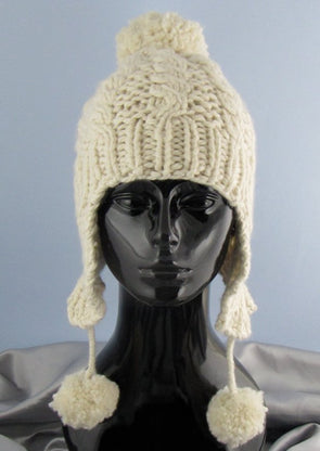 Big Bobble Superfast Cable Trapper Beanie Hat by MadMonkeyKnits (480) - Digital Version