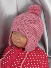 Baby Bobble Garter Stitch Trapper Hat by MadMonkeyKnits (508) - Digital Version