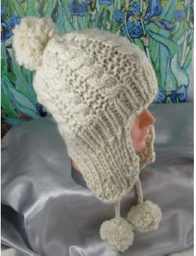 Baby Bobble Superfast Cable Trapper Beanie Hat by MadMonkeyKnits (490) - Digital Version