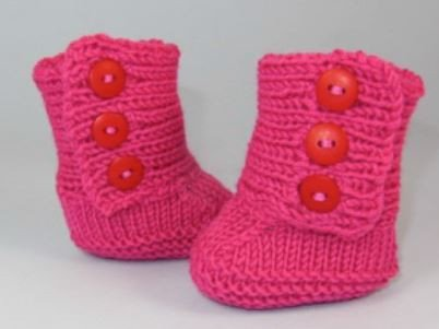 MadMonkeyKnits Baby 3 Button Booties (555) - Digital Version