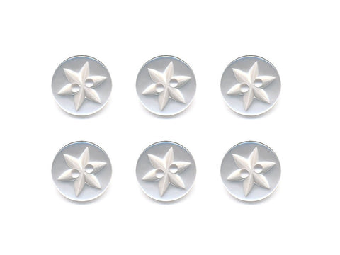 Round Flower Effect Buttons - White - 017