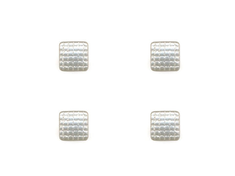 Pearlescent Square Quilt Effect Buttons - White - 033