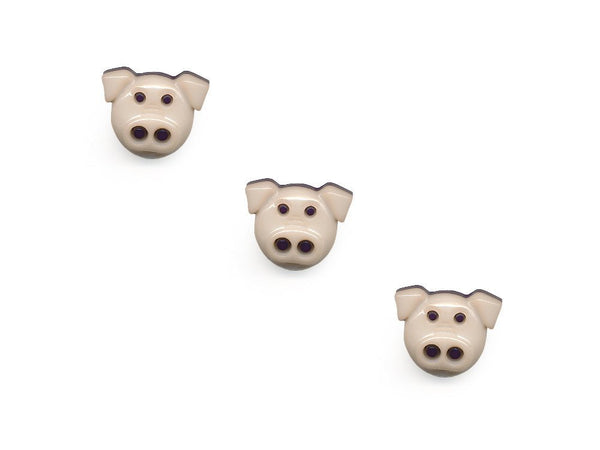 Pig Shaped Buttons - Cream - 088