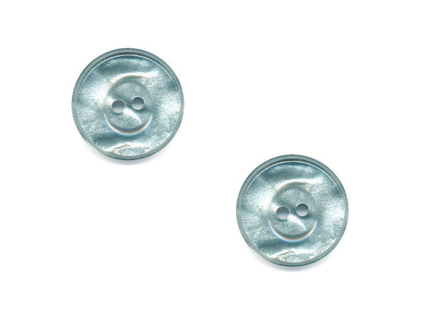 Round Pearlescent Thick Rimmed Buttons - Green - 1006