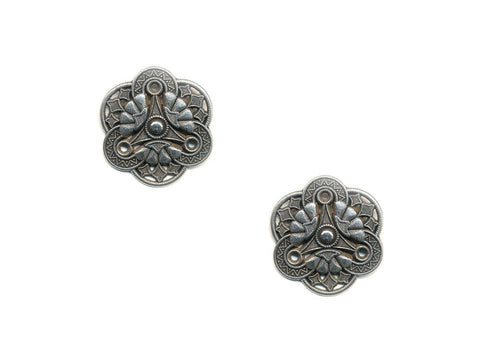 Metal Textured Design Buttons - Silver - 1013