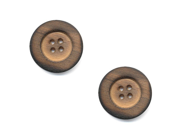 Round Thick Rimmed Wooden Buttons - 1055