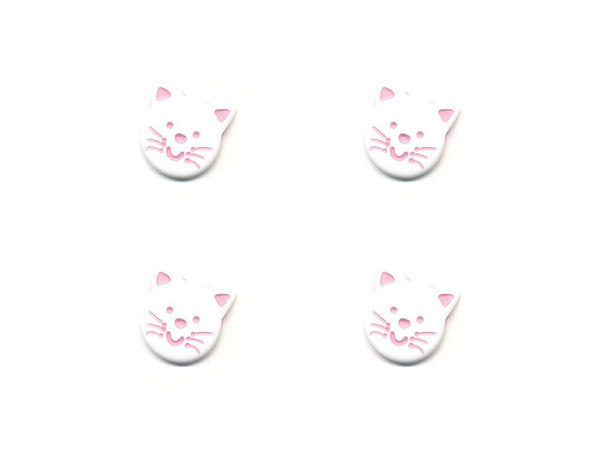 Novelty Cat Shaped Buttons - White & Pink - 105