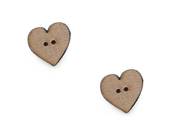 Wooden Heart Shaped Buttons - 1066