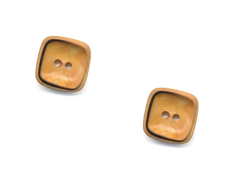 Square Rimmed Wooden Buttons - 1070