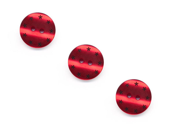Round Pearl Effect Star Print Buttons - Red - 117