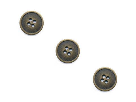 Rimmed Round Metal Buttons - Gold - 137