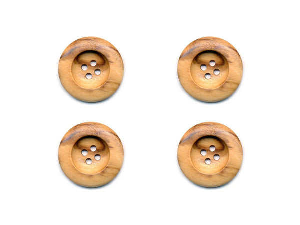 Round Thick Rimmed Wooden Buttons - 261