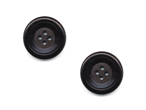Round Double Rimmed Plain Buttons - Black - 469