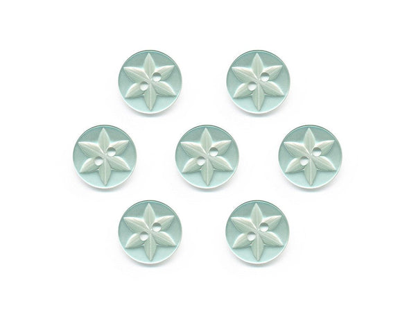 Round Flower Effect Buttons - Green - 064