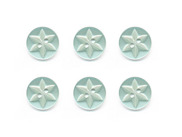Round Flower Effect Buttons - Green - 493