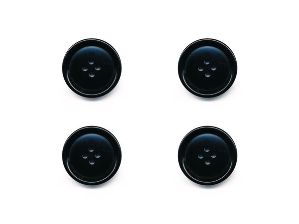 Rimmed  Round Buttons - Black - 110