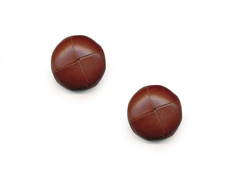 Round Leather Buttons - Brown - 554