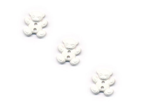 Teddy Bear Shaped Buttons - White - 844