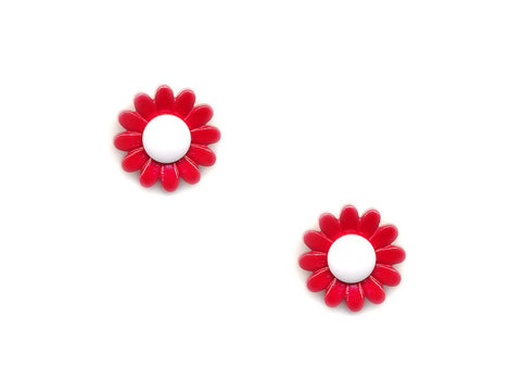 Flower Buttons - Red & White - 927