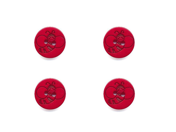 Round Bee Print Buttons - Red/Orange - 928