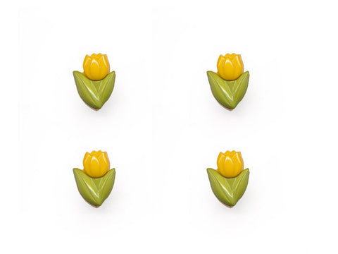 Flower Buttons - Yellow & Green - 945