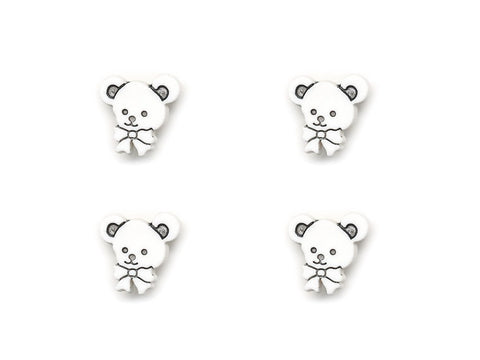 Teddy Bear Head Shaped Buttons - White - 950