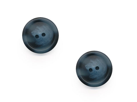 Chunky Round Rimmed Wood Effect Buttons - Blue - 979