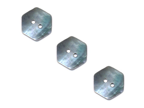 Hexagonal Shaped Shell Buttons - Silver - 982