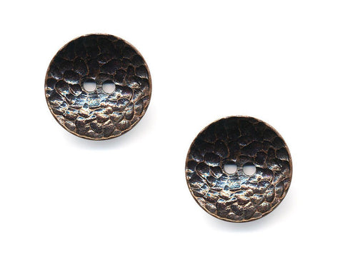 Concave Metal Textured Buttons - Bronze - 994