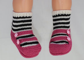 Childrens Stripe Sock 2 Strap Sandals Slippers by MadMonkeyKnits (1040) - Digital Version