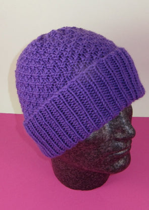 Chunky 2 Stitch Check Beanie Hat by MadMonkeyKnits (792) - Digital Version