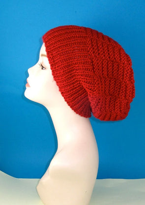 Chunky Basket Stitch Slouch Hat by MadMonkeyKnits (789) - Digital Version