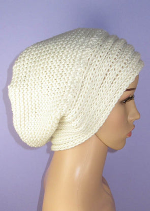 Chunky Rib Band Garter Stitch Slouch Hat by MadMonkeyKnits (991) - Digital Version