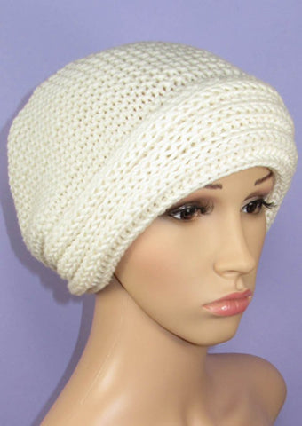 Chunky Rib Cuff Garter Stitch Slouch Hat by MadMonkeyKnits (992) - Digital Version
