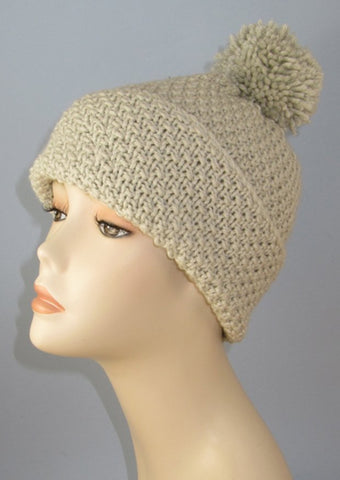 Chunky Unisex Big Bobble Double Moss Stitch Beanie Hat by MadMonkeyKnits (933) - Digital Version