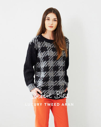 Checked Tweed Sweater in Debbie Bliss Luxury Tweed Aran (DB036)