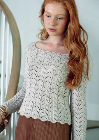 Lace Panel Sweater by Debbie Bliss - Digital Version