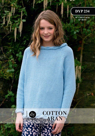 Young Lady Cable Jumper in DY Choice Cotton Aran (DYP234)