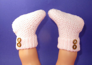 Easy Baby 2 Button Moss Stitch Booties by MadMonkeyKnits (820) - Digital Version