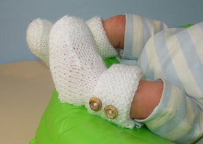 Easy Baby Garter Cuff 2 Button Booties by MadMonkeyKnits (828) - Digital Version